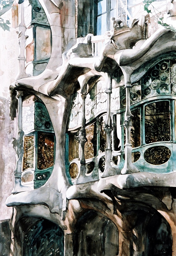 Read more about Casa Batllo, inspiration for the watercolor artist Paul Dmoch
